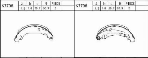 Asimco K7796 - Комплект тормозных колодок autodif.ru