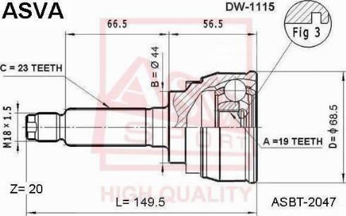 ASVA DW1115 - Шарнирный комплект, приводной вал autodif.ru
