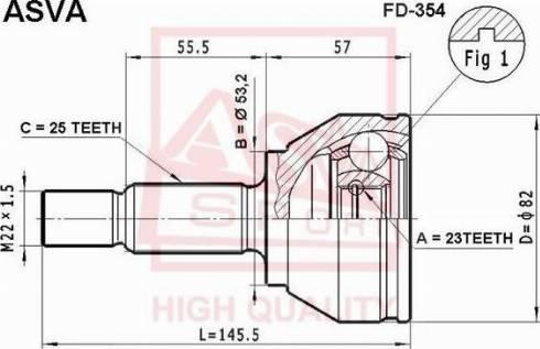 ASVA FD354 - Шарнирный комплект, приводной вал autodif.ru