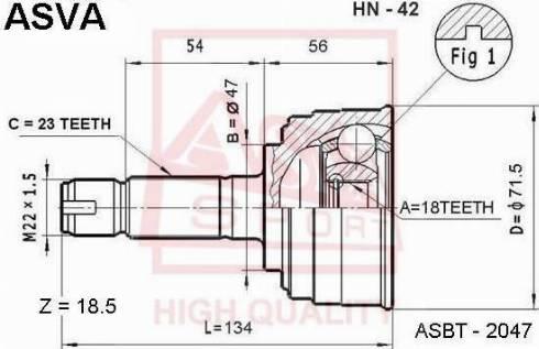 ASVA HN42 - Шарнирный комплект, приводной вал autodif.ru