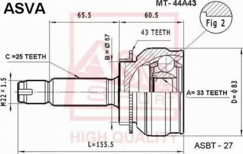ASVA MT44A43 - Шарнирный комплект, приводной вал autodif.ru