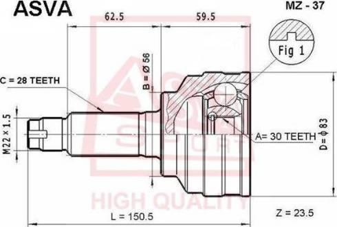 ASVA MZ37 - Шарнирный комплект, приводной вал autodif.ru