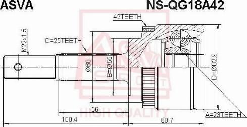 ASVA NSQG18A42 - Шарнирный комплект, приводной вал autodif.ru