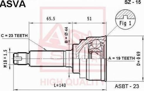 ASVA SZ15 - Шарнирный комплект, приводной вал autodif.ru