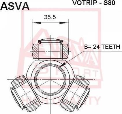 ASVA VOTRIPS80 - Шарнирный комплект, приводной вал autodif.ru