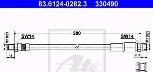 ATE 83612402823 - Тормозной шланг autodif.ru