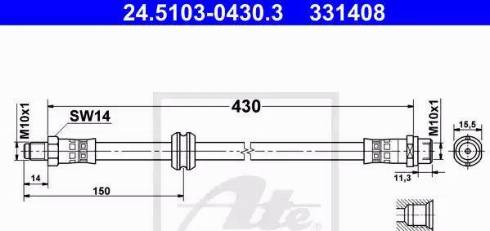 ATE 24.5103-0430.3 - Тормозной шланг autodif.ru