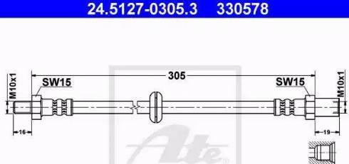 ATE 24.5127-0305.3 - Тормозной шланг autodif.ru