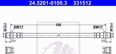 ATE 24.5201-0100.3 - Тормозной шланг autodif.ru