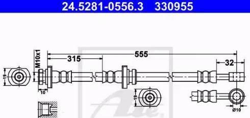 ATE 24.5281-0556.3 - Тормозной шланг autodif.ru