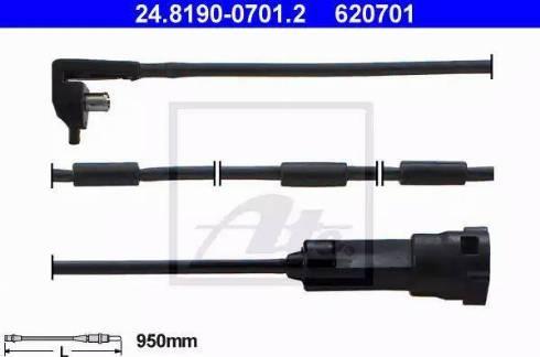 ATE 24819007012 - Сигнализатор, износ тормозных колодок autodif.ru