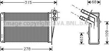 Ava Quality Cooling RT6228 - Теплообменник, отопление салона autodif.ru