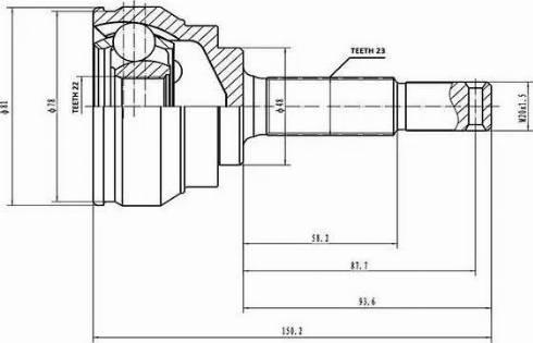 Aywiparts AW1510510 - Шарнирный комплект, приводной вал autodif.ru