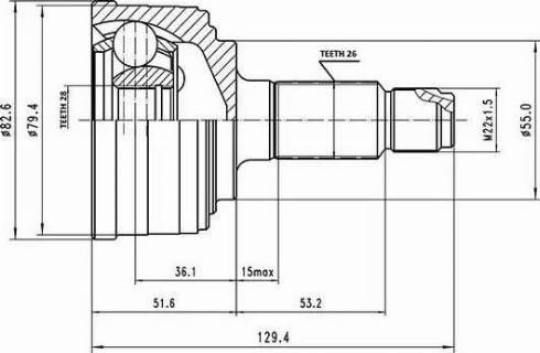 Aywiparts AW1510140 - Шарнирный комплект, приводной вал autodif.ru