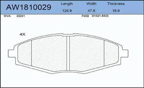 Aywiparts AW1810029 - Комплект тормозных колодок, дисковый тормоз autodif.ru