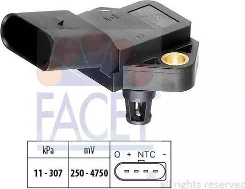 FACET 10.3075 - Датчик, давление выхлопных газов autodif.ru