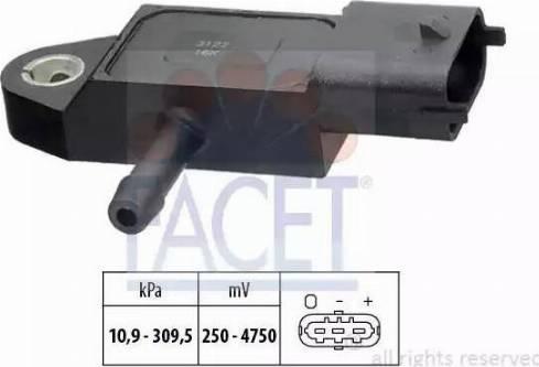 FACET 10.3144 - Датчик, давление выхлопных газов autodif.ru