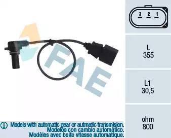 FAE 79062 - Датчик частоты вращения, автоматическая коробка передач autodif.ru