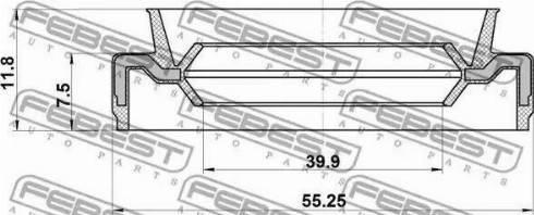 Febest 95EAS41550812X - Уплотнительное кольцо вала, приводной вал autodif.ru