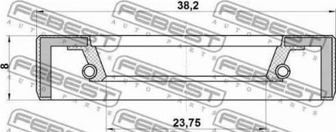 Febest 95FBY26380808X - Уплотнительное кольцо вала, приводной вал autodif.ru
