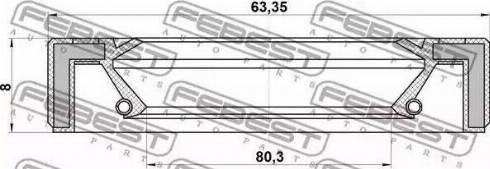 Febest 95GAS65800808X - Уплотнительное кольцо вала, приводной вал autodif.ru