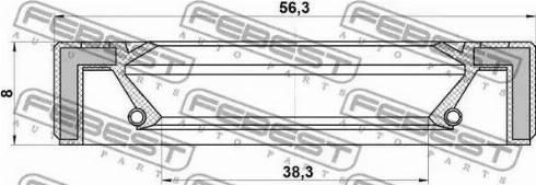 Febest 95GAY40560808X - Уплотнительное кольцо вала, приводной вал autodif.ru