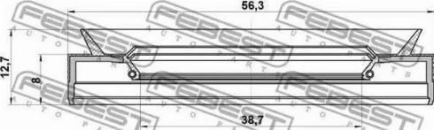 Febest 95PES40560813C - Уплотняющее кольцо вала, автоматическая коробка передач autodif.ru