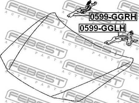 Febest 0599GGLH - Монтажный комплект, капот двигателя autodif.ru