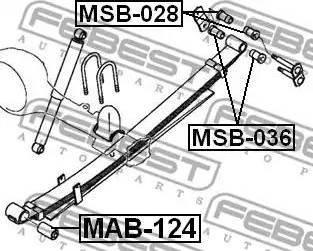 Febest MAB124 - Втулка, листовая рессора autodif.ru
