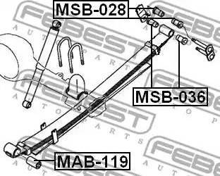 Febest MSB-036 - Втулка, листовая рессора autodif.ru