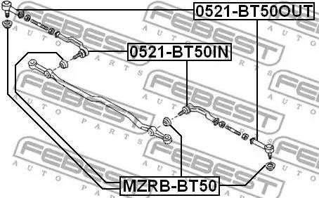 Febest MZRBBT50 - Ремкомплект, наконечник поперечной рулевой тяги autodif.ru
