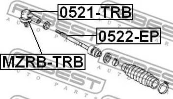 Febest MZRBTRB - Ремкомплект, наконечник поперечной рулевой тяги autodif.ru