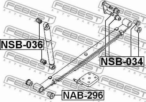 Febest NSB-034 - Втулка, листовая рессора autodif.ru