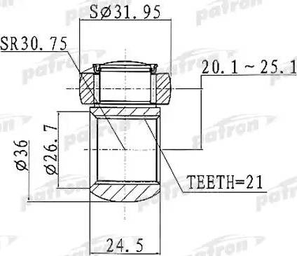 Patron PTD005 - Муфта с шипами, приводной вал autodif.ru