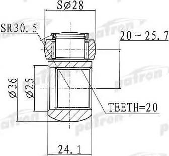 Patron PTD001 - Муфта с шипами, приводной вал autodif.ru