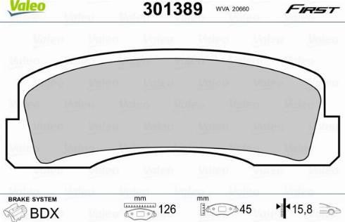 Valeo 301389 - Комплект тормозных колодок, дисковый тормоз autodif.ru
